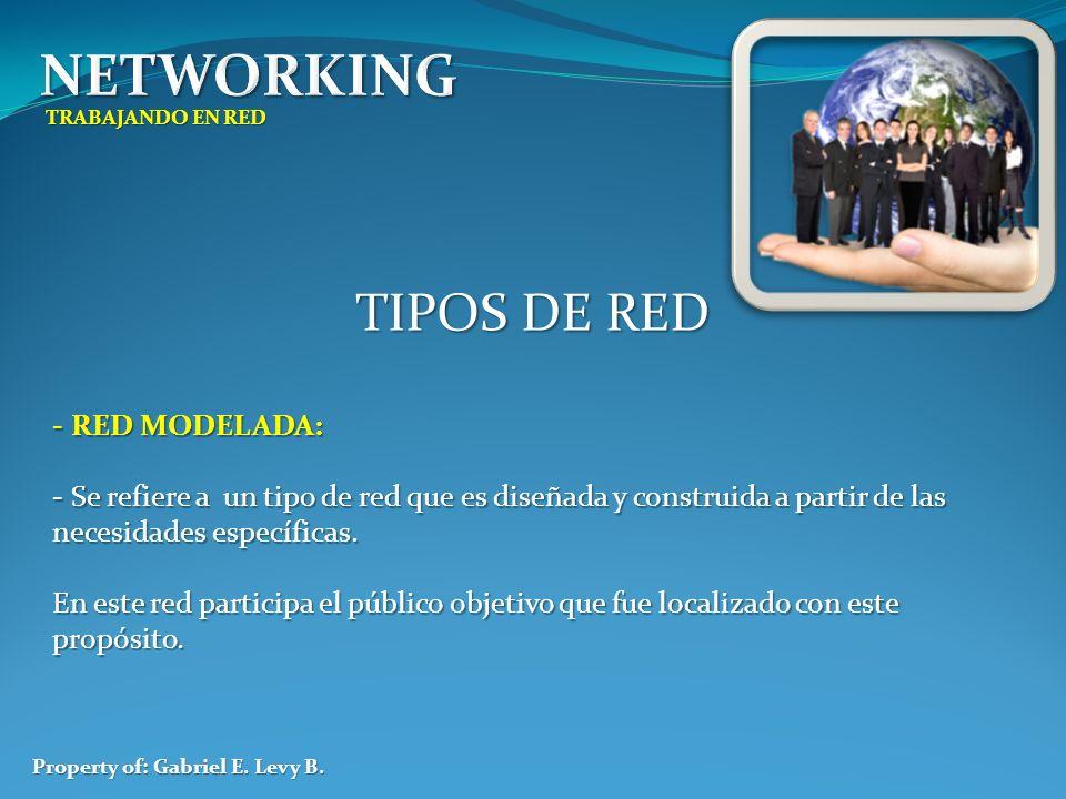 TRABAJANDO EN RED Property of: Gabriel E. Levy B. TIPOS DE RED - RED MODELADA: - Se refiere a un tipo de red que es diseñada y construida a partir de
