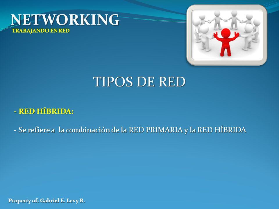 TRABAJANDO EN RED Property of: Gabriel E. Levy B. TIPOS DE RED - RED HÍBRIDA: - Se refiere a la combinación de la RED PRIMARIA y la RED HÍBRIDA