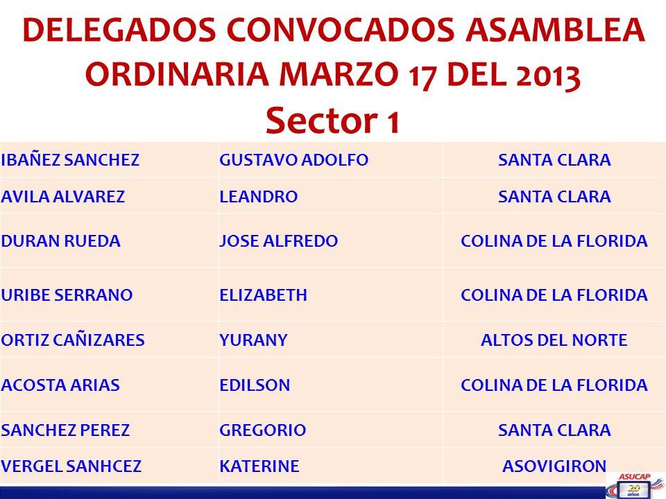 DELEGADOS CONVOCADOS ASAMBLEA ORDINARIA MARZO 17 DEL 2013 Sector 1 IBAÑEZ SANCHEZGUSTAVO ADOLFOSANTA CLARA AVILA ALVAREZLEANDROSANTA CLARA DURAN RUEDA