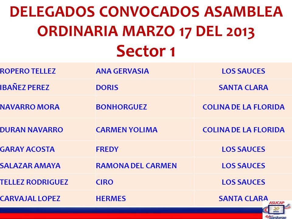 SANCHEZ CARREÑOJAIROLA PERLA CASADIEGO ANGARITAWILSON DEL SOCORROLA GLORIA NAVARRO VELASQUEZLIBARDOLOS CRISTALES GOMEZ SANCHEZJOSE MANUELBERMEJAL SANTIAGO ANTELIZHENRYLA PERLA ORTIZ CHINCHILLAMARIA TORCOROMALOS CRISTALES FLOREZMARIA TRINIDADLOS CRISTALES GOMEZ ALVARO ANTONIOVILLA PARAISO SERNA VEGAWILSONVILLA PARAISO SANCHEZ BAYONANEIDYLOS CRISTALES PORTILLO BONETHROSA EVELYLOS CRISTALES DELEGADOS CONVOCADOS ASAMBLEA ORDINARIA MARZO 17 DEL 2013 Sector 2