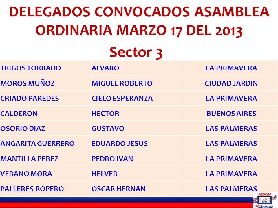 LISTADO DE DELEGADOS INHABILES PARA LA ASAMBLEA ORDINARIA DEL 17 DE MARZO DE 2013 SECTOR UNO C.C.