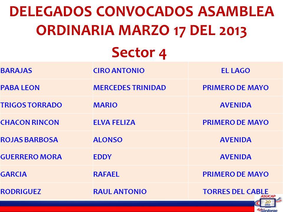 LISTADO DE DELEGADOS INHABILES PARA LA ASAMBLEA ORDINARIA DEL 17 DE MARZO DE 2013 SECTOR SEIS C.C.