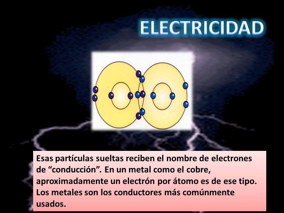 Esas partículas sueltas reciben el nombre de electrones de conducción. En un metal como el cobre, aproximadamente un electrón por átomo es de ese tipo