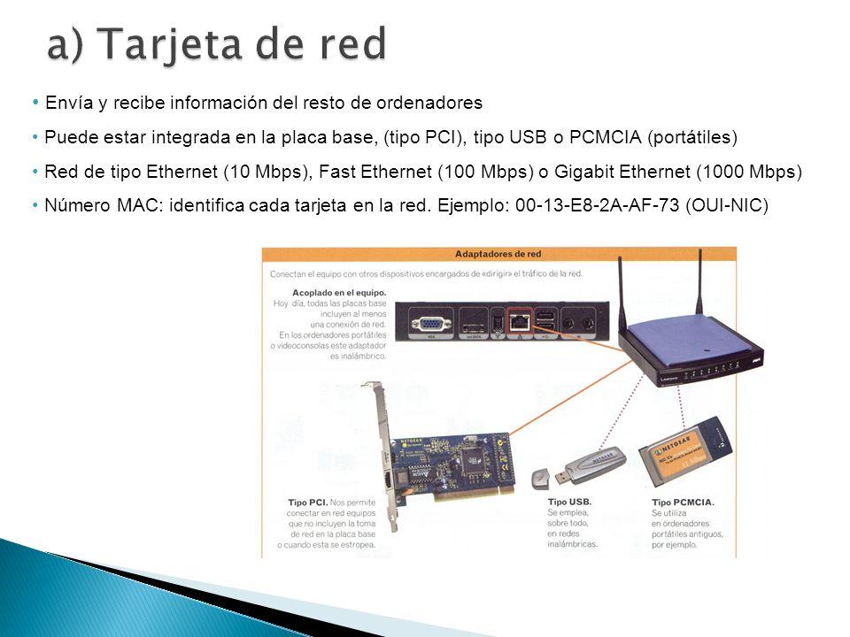 Envía y recibe información del resto de ordenadores Puede estar integrada en la placa base, (tipo PCI), tipo USB o PCMCIA (portátiles) Red de tipo Eth