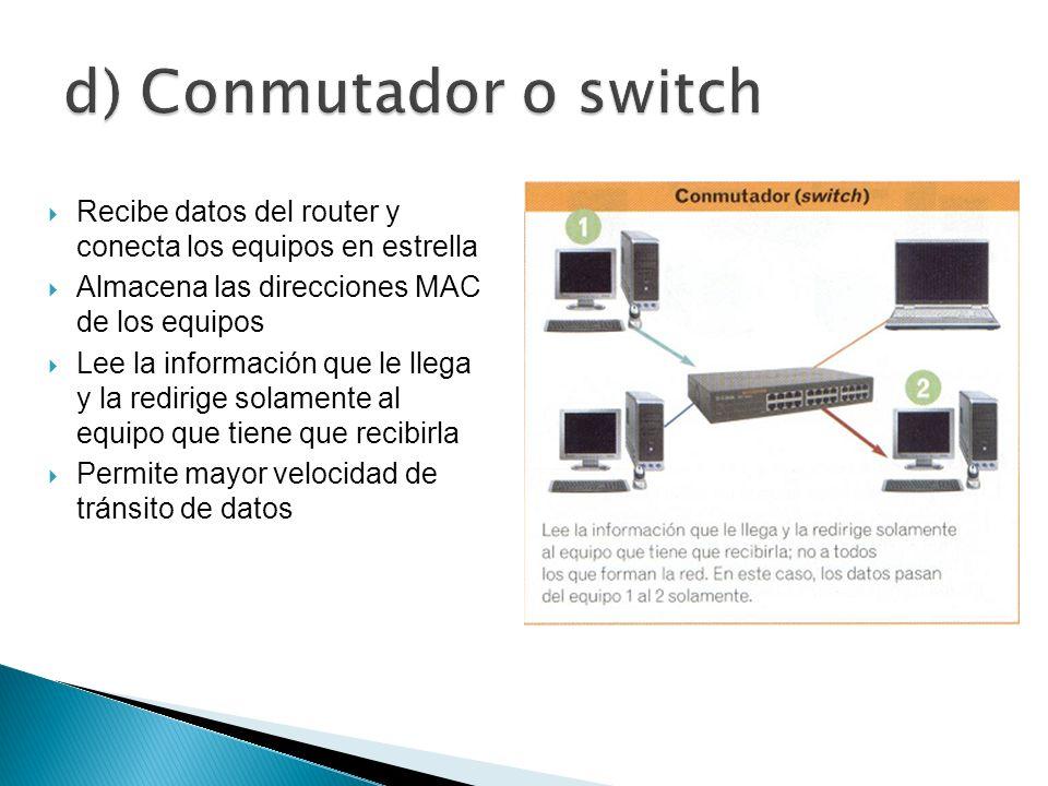 Recibe datos del router y conecta los equipos en estrella Almacena las direcciones MAC de los equipos Lee la información que le llega y la redirige so
