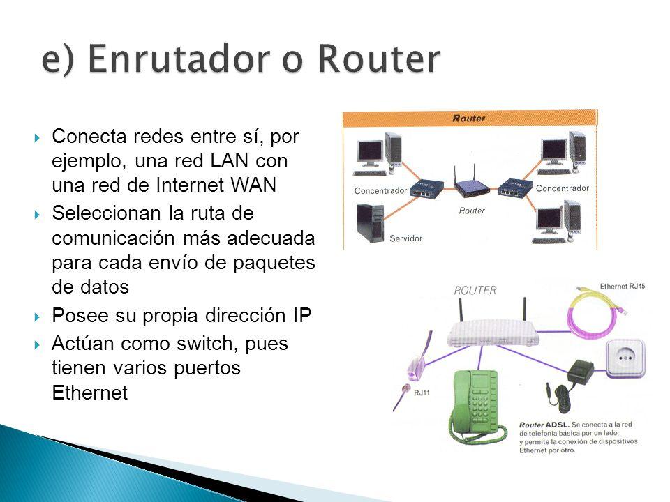 Conecta redes entre sí, por ejemplo, una red LAN con una red de Internet WAN Seleccionan la ruta de comunicación más adecuada para cada envío de paque