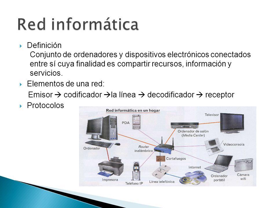 Definición Conjunto de ordenadores y dispositivos electrónicos conectados entre sí cuya finalidad es compartir recursos, información y servicios. Elem