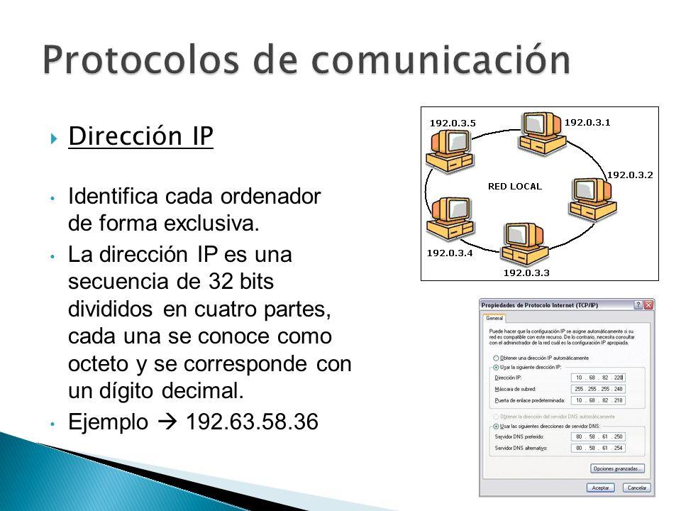 Dirección IP Identifica cada ordenador de forma exclusiva. La dirección IP es una secuencia de 32 bits divididos en cuatro partes, cada una se conoce
