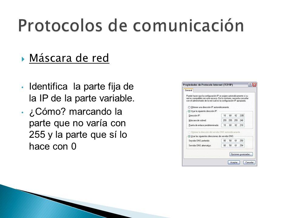 Máscara de red Identifica la parte fija de la IP de la parte variable. ¿Cómo? marcando la parte que no varía con 255 y la parte que sí lo hace con 0
