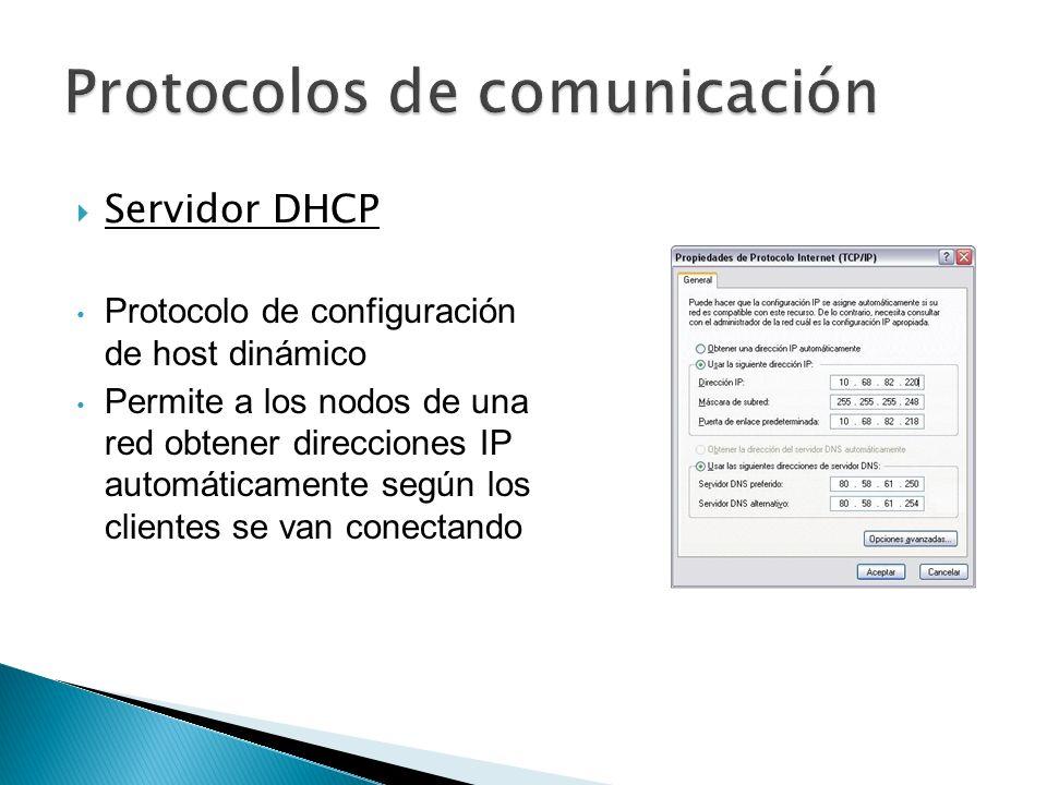 Servidor DHCP Protocolo de configuración de host dinámico Permite a los nodos de una red obtener direcciones IP automáticamente según los clientes se
