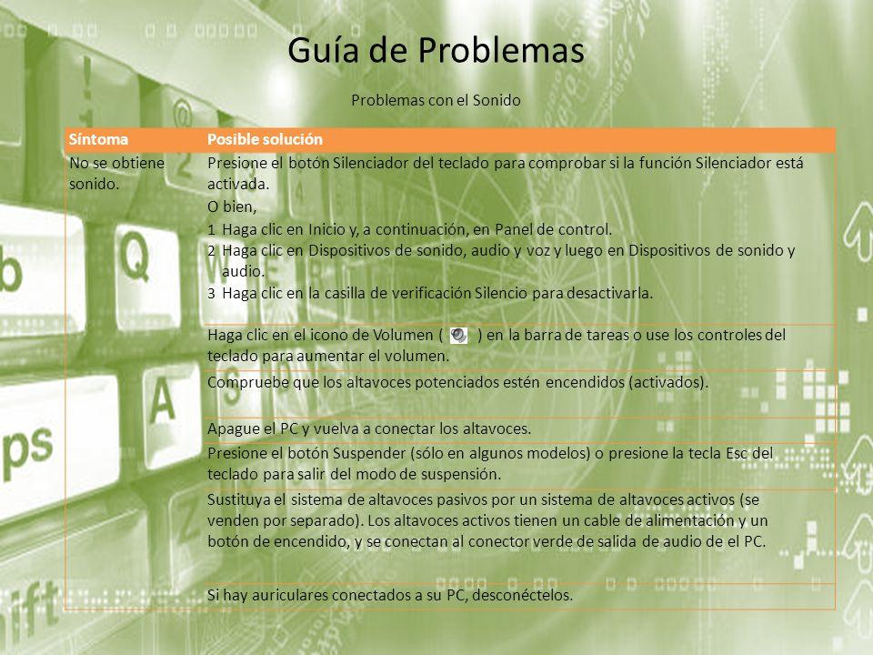 Guía de Problemas SíntomaPosible solución No se obtiene sonido. Presione el botón Silenciador del teclado para comprobar si la función Silenciador est