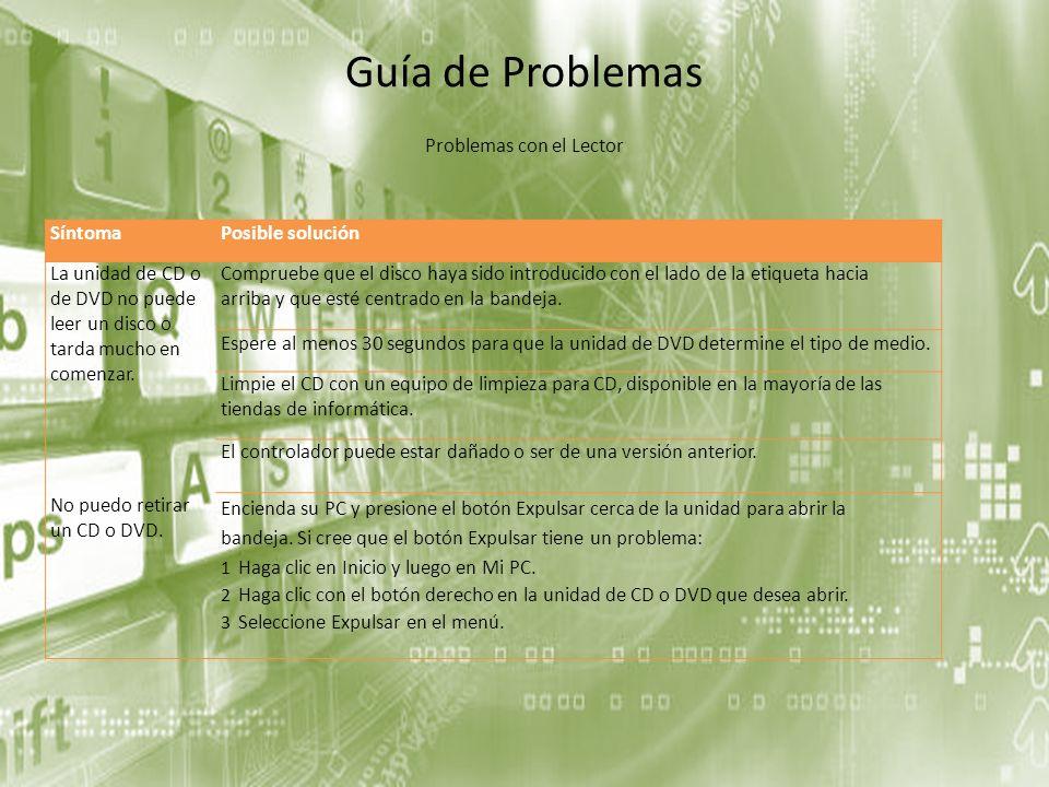 Guía de Problemas SíntomaPosible solución La unidad de CD o de DVD no puede leer un disco o tarda mucho en comenzar. Compruebe que el disco haya sido