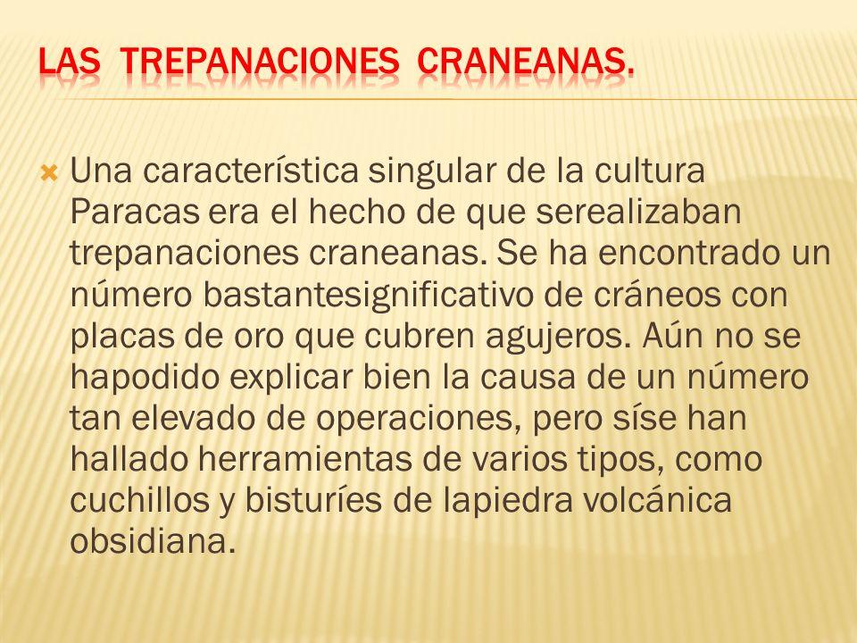 Una característica singular de la cultura Paracas era el hecho de que serealizaban trepanaciones craneanas.