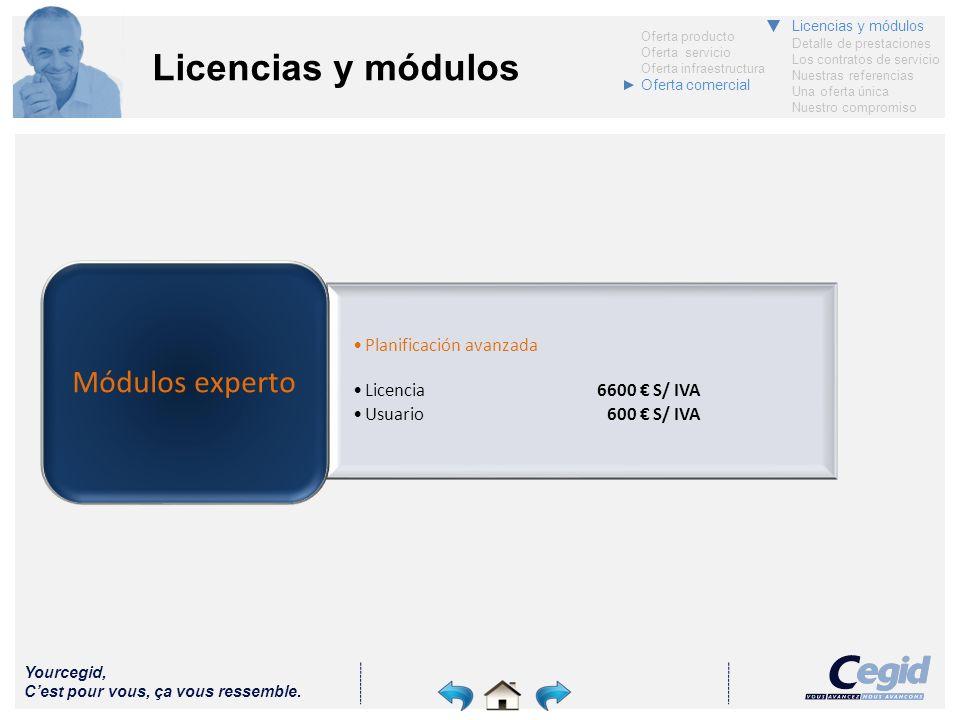 Yourcegid, Cest pour vous, ça vous ressemble. Licencias y módulos Planificación avanzada Licencia6600 S/ IVA Usuario600 S/ IVA Módulos experto Oferta
