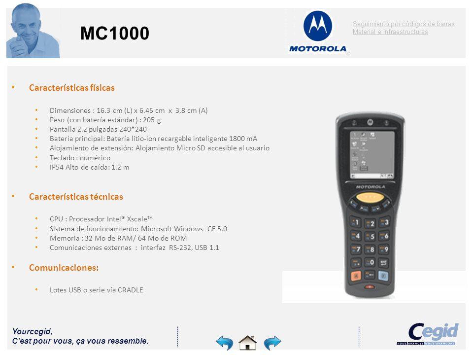 Yourcegid, Cest pour vous, ça vous ressemble. MC1000 Características físicas Dimensiones : 16.3 cm (L) x 6.45 cm x 3.8 cm (A) Peso (con batería estánd