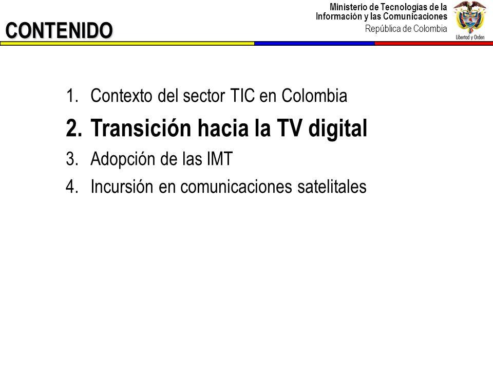 Ministerio de Tecnologías de la Información y las Comunicaciones República de Colombia CONTENIDO 1.Contexto del sector TIC en Colombia 2.Transición ha