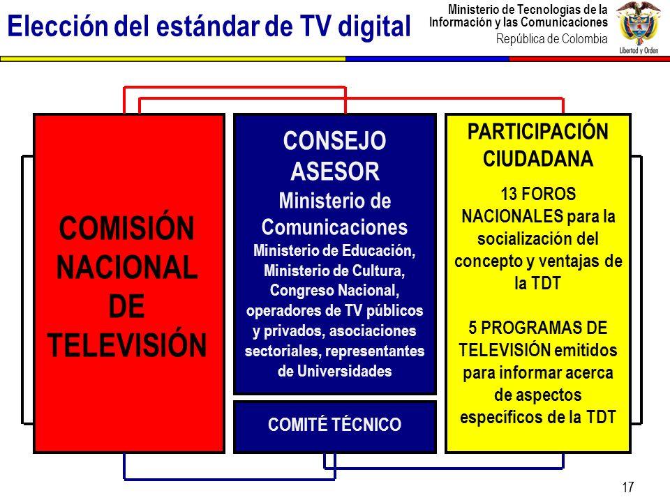 Ministerio de Tecnologías de la Información y las Comunicaciones República de Colombia 17 COMISIÓN NACIONAL DE TELEVISIÓN COMITÉ TÉCNICO CONSEJO ASESO