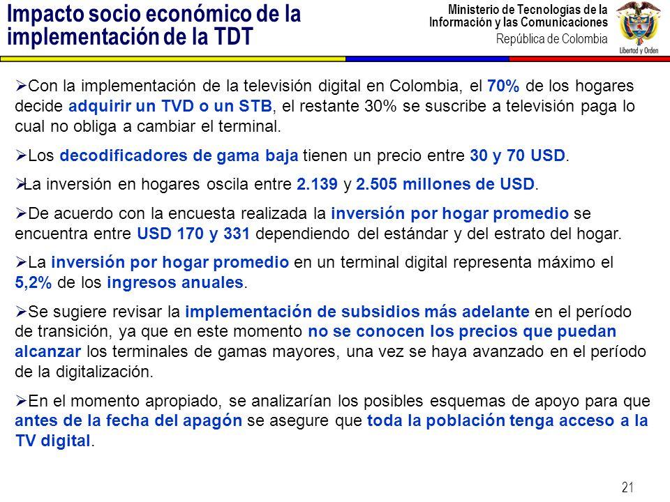Ministerio de Tecnologías de la Información y las Comunicaciones República de Colombia 21 Con la implementación de la televisión digital en Colombia,