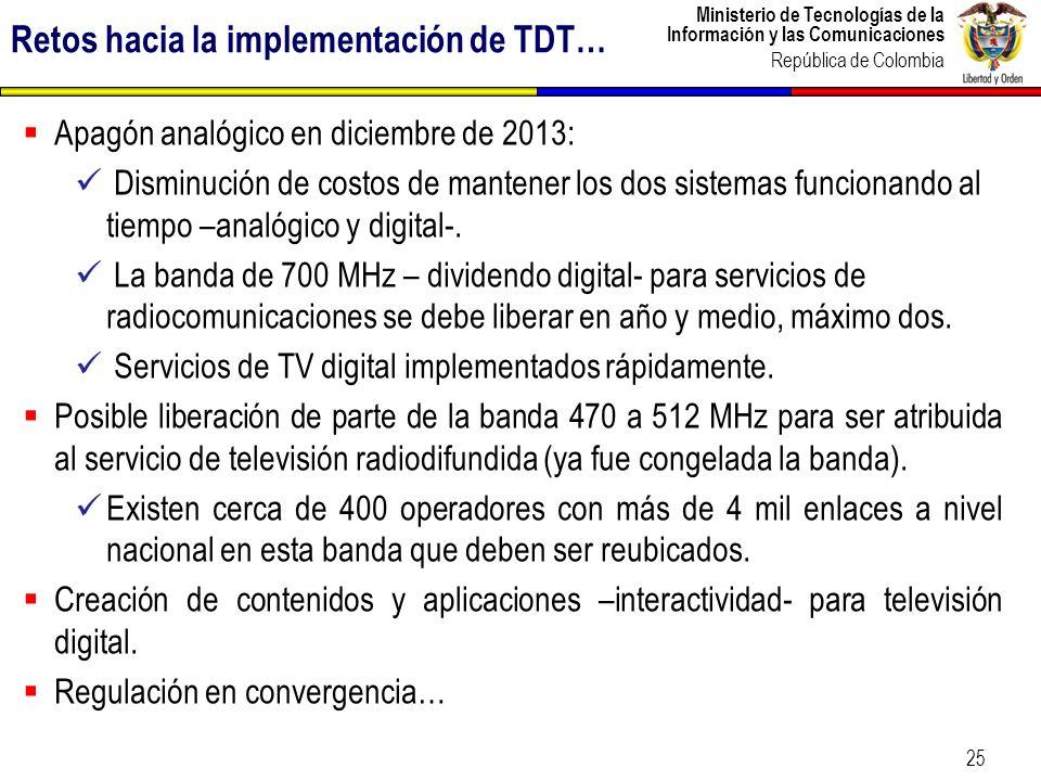 Ministerio de Tecnologías de la Información y las Comunicaciones República de Colombia 25 Apagón analógico en diciembre de 2013: Disminución de costos