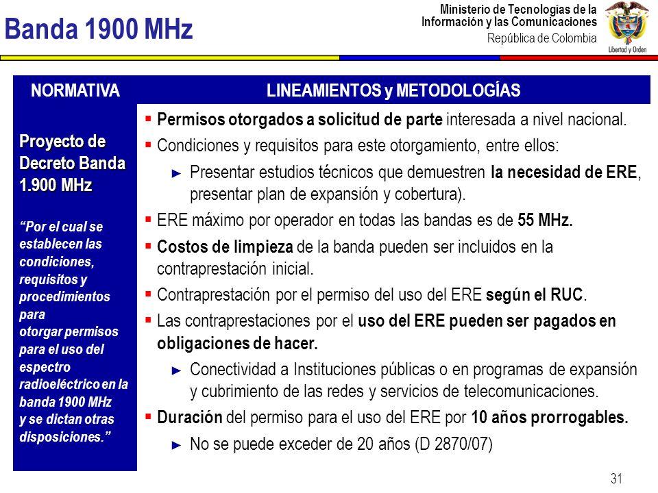 Ministerio de Tecnologías de la Información y las Comunicaciones República de Colombia 31 Banda 1900 MHz NORMATIVALINEAMIENTOS y METODOLOGÍAS Proyecto