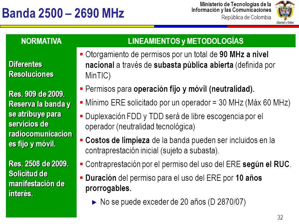 Ministerio de Tecnologías de la Información y las Comunicaciones República de Colombia 32 Banda 2500 – 2690 MHz NORMATIVALINEAMIENTOS y METODOLOGÍAS D