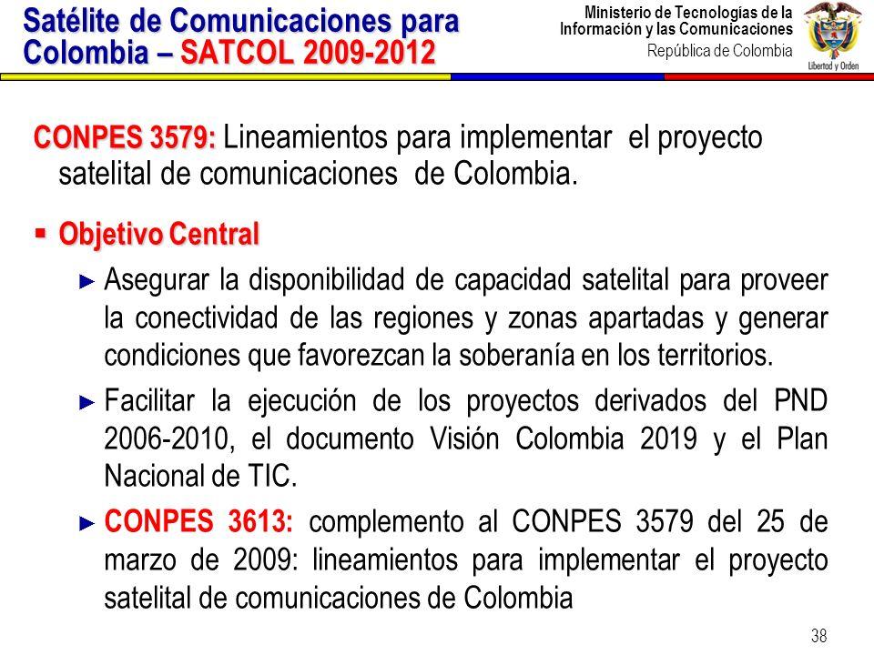 Ministerio de Tecnologías de la Información y las Comunicaciones República de Colombia 38 CONPES 3579: CONPES 3579: Lineamientos para implementar el p