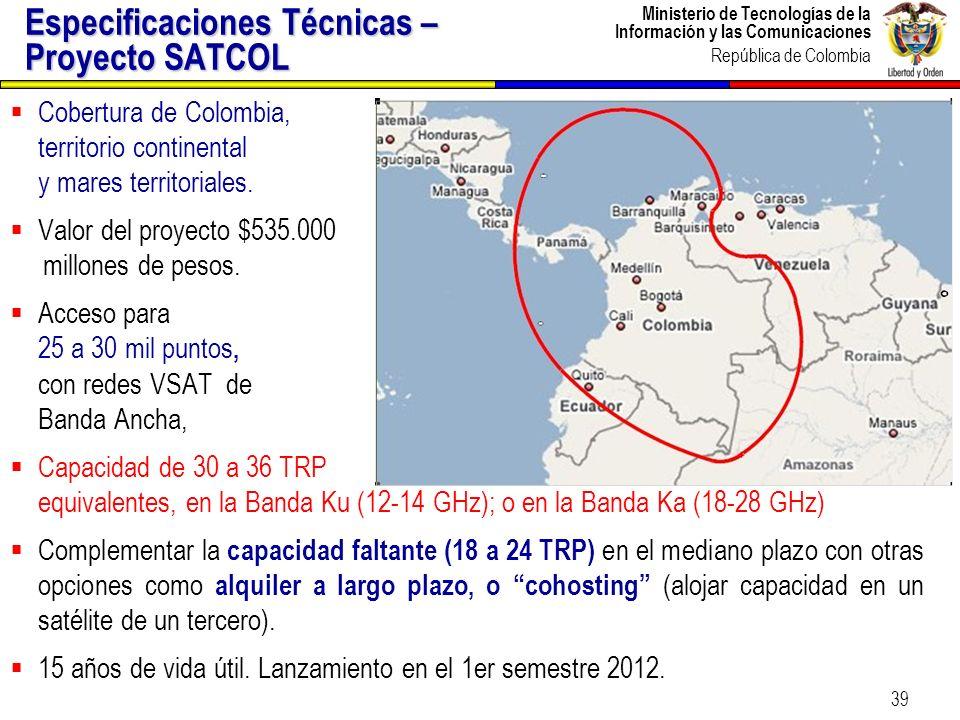 Ministerio de Tecnologías de la Información y las Comunicaciones República de Colombia 39 Especificaciones Técnicas – Proyecto SATCOL Cobertura de Col