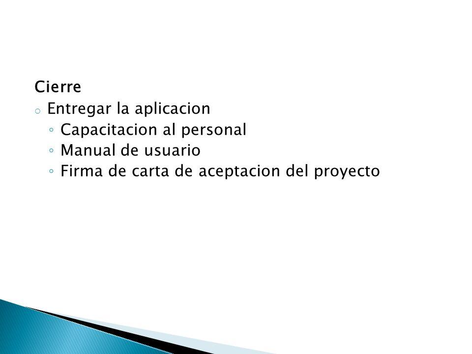 Cierre o Entregar la aplicacion Capacitacion al personal Manual de usuario Firma de carta de aceptacion del proyecto