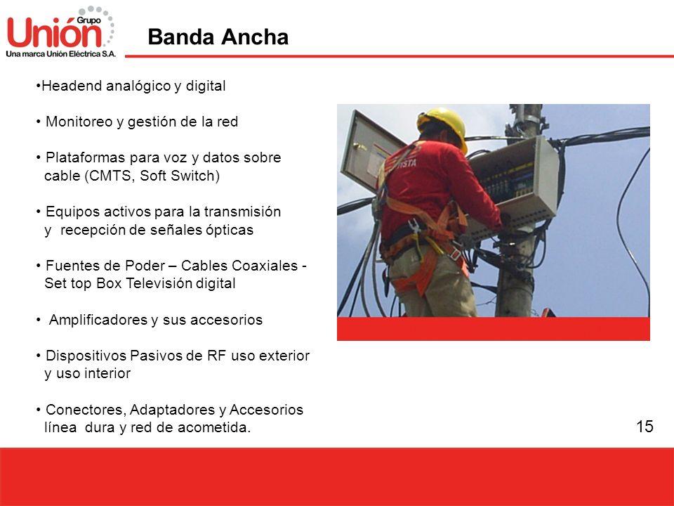 15 Headend analógico y digital Monitoreo y gestión de la red Plataformas para voz y datos sobre cable (CMTS, Soft Switch) Equipos activos para la tran