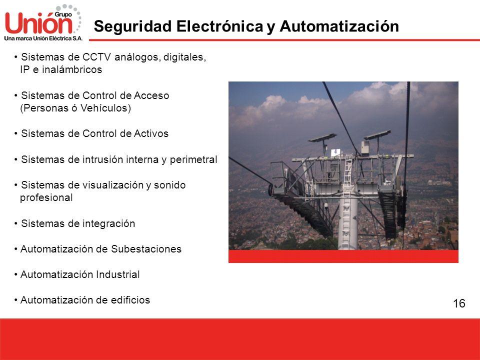 16 Seguridad Electrónica y Automatización Sistemas de CCTV análogos, digitales, IP e inalámbricos Sistemas de Control de Acceso (Personas ó Vehículos)