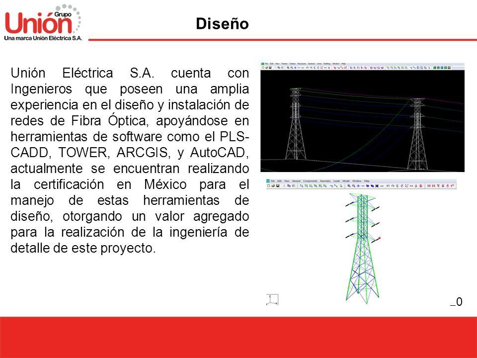 20 Unión Eléctrica S.A. cuenta con Ingenieros que poseen una amplia experiencia en el diseño y instalación de redes de Fibra Óptica, apoyándose en her