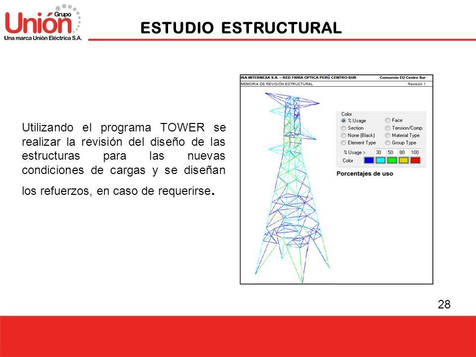 28 ESTUDIO ESTRUCTURAL Utilizando el programa TOWER se realizar la revisión del diseño de las estructuras para las nuevas condiciones de cargas y se d