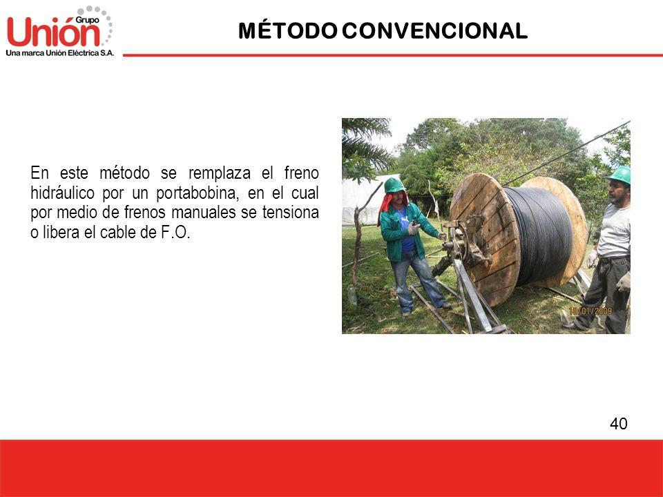 40 MÉTODO CONVENCIONAL En este método se remplaza el freno hidráulico por un portabobina, en el cual por medio de frenos manuales se tensiona o libera