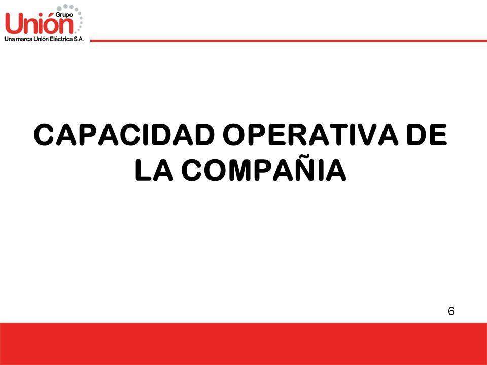 6 CAPACIDAD OPERATIVA DE LA COMPAÑIA