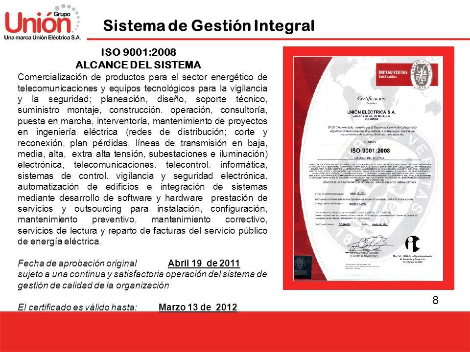 8 Sistema de Gestión Integral ISO 9001:2008 ALCANCE DEL SISTEMA Comercialización de productos para el sector energético de telecomunicaciones y equipo