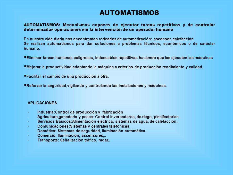 AUTOMATISMOS: Mecanismos capaces de ejecutar tareas repetitivas y de controlar determinadas operaciones sin la intervención de un operador humano En n