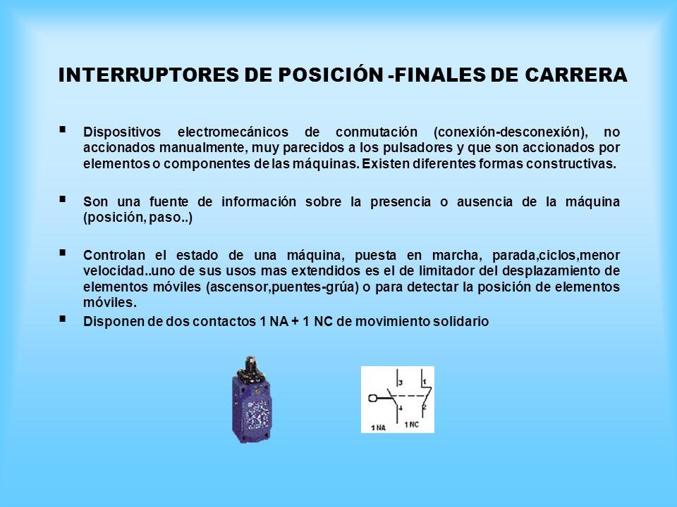 INTERRUPTORES DE POSICIÓN -FINALES DE CARRERA Dispositivos electromecánicos de conmutación (conexión-desconexión), no accionados manualmente, muy pare