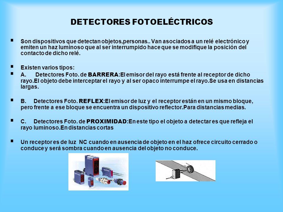 DETECTORES FOTOELÉCTRICOS Son dispositivos que detectan objetos,personas.. Van asociados a un relé electrónico y emiten un haz luminoso que al ser int