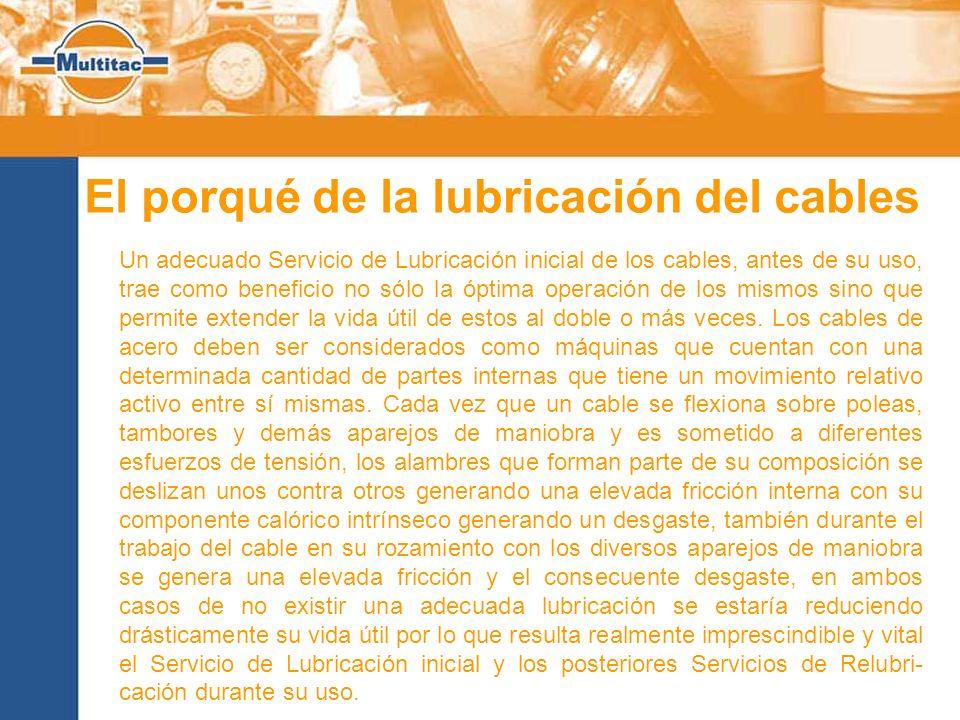 El porqué de la lubricación del cables Un adecuado Servicio de Lubricación inicial de los cables, antes de su uso, trae como beneficio no sólo la ópti