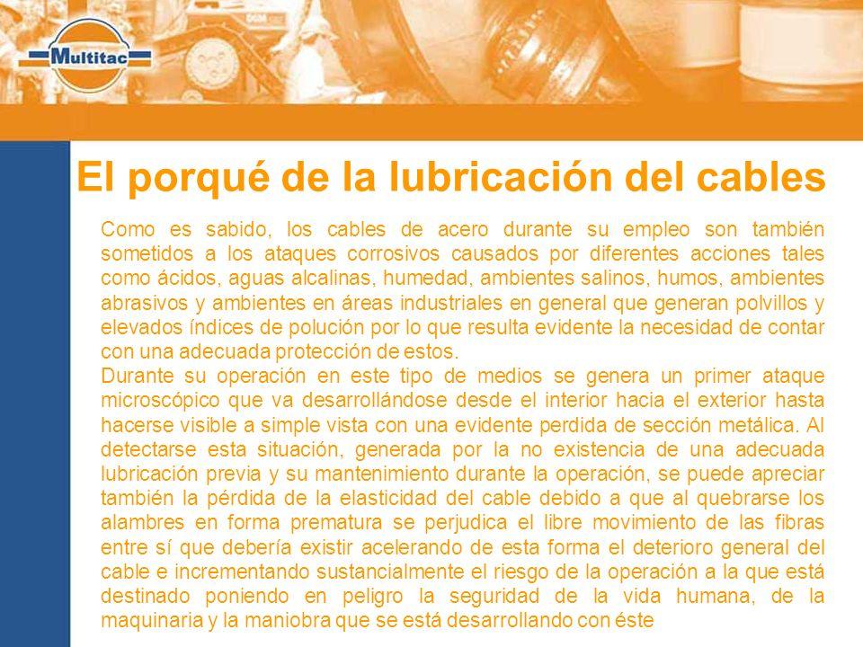 El porqué de la lubricación del cables Como es sabido, los cables de acero durante su empleo son también sometidos a los ataques corrosivos causados p