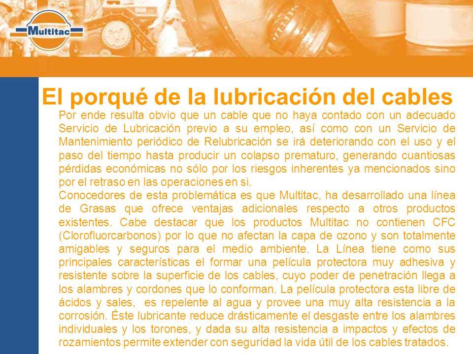 El porqué de la lubricación del cables Por ende resulta obvio que un cable que no haya contado con un adecuado Servicio de Lubricación previo a su emp