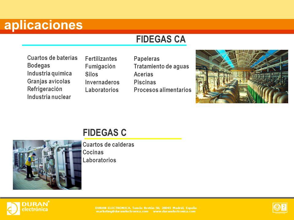 DURAN ELECTRONICA. Tomás Bretón 50, 28045 Madrid, España marketing@duranelectronica.com www.duranelectronica.com aplicaciones FIDEGAS C Cuartos de cal