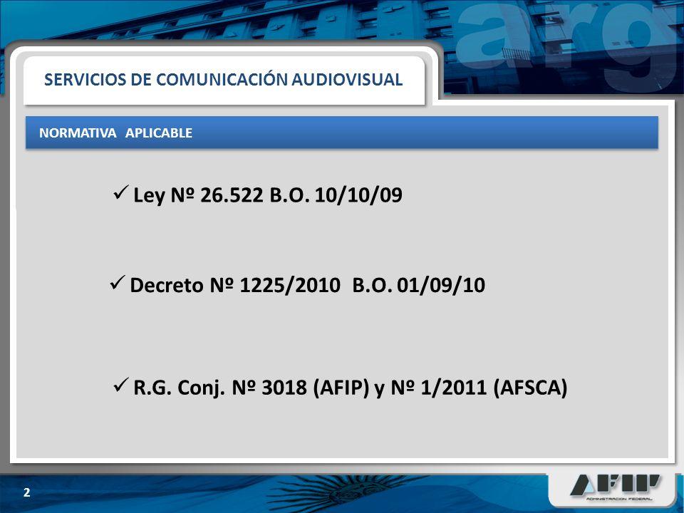 SERVICIOS DE COMUNICACIÓN AUDIOVISUAL NORMATIVA APLICABLE 2 Ley Nº 26.522 B.O.
