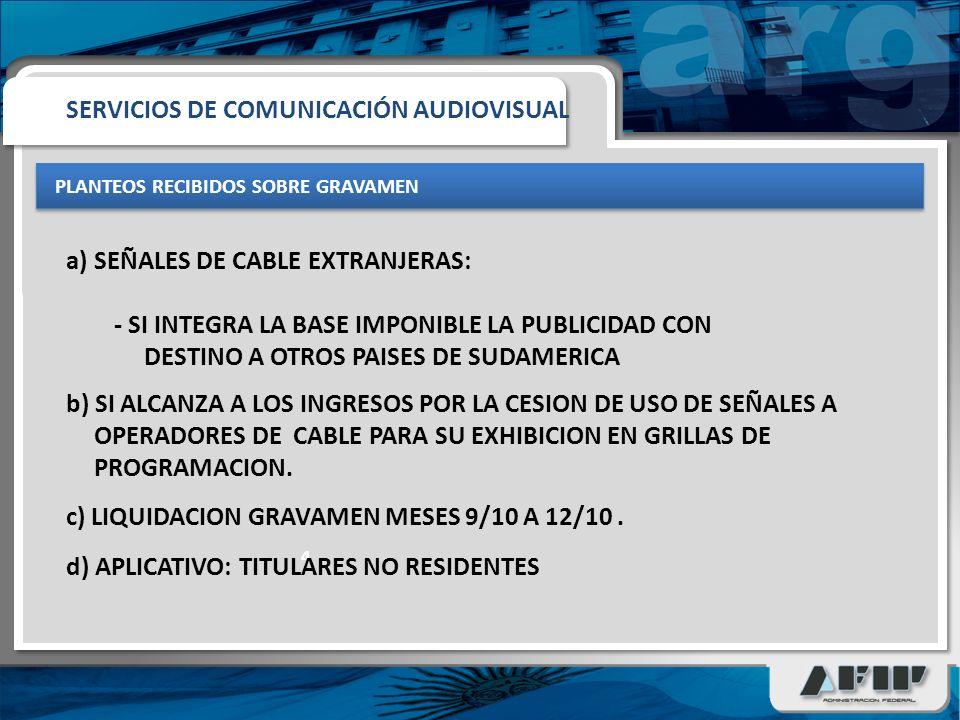 PLANTEOS RECIBIDOS SOBRE GRAVAMEN 4 a)SEÑALES DE CABLE EXTRANJERAS: - SI INTEGRA LA BASE IMPONIBLE LA PUBLICIDAD CON DESTINO A OTROS PAISES DE SUDAMERICA SERVICIOS DE COMUNICACIÓN AUDIOVISUAL b) SI ALCANZA A LOS INGRESOS POR LA CESION DE USO DE SEÑALES A OPERADORES DE CABLE PARA SU EXHIBICION EN GRILLAS DE PROGRAMACION.