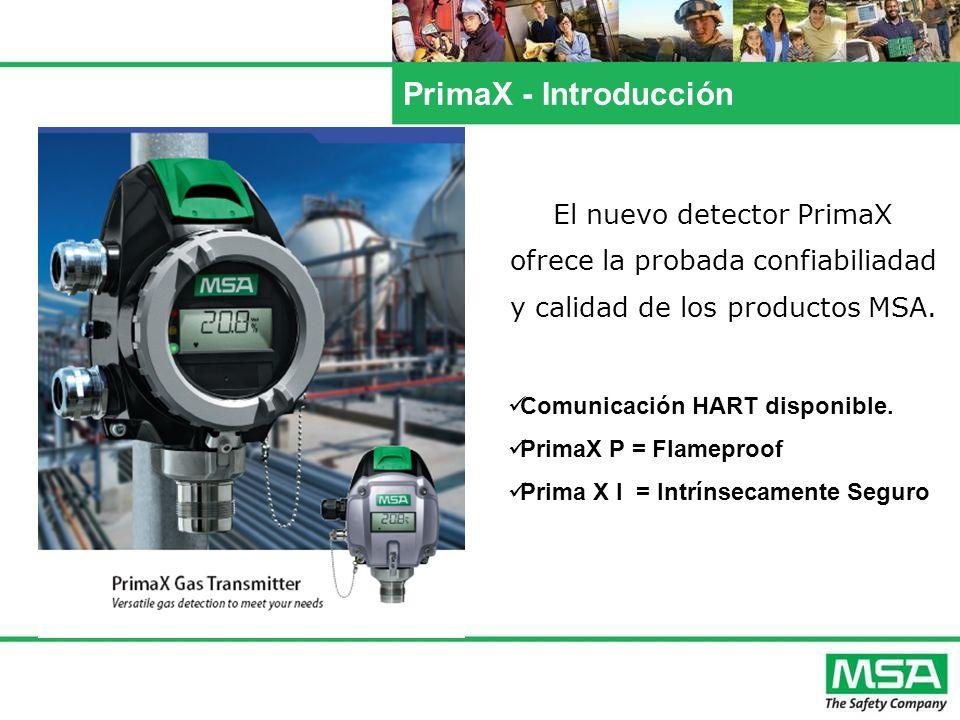 PrimaX – Lista de Gases Detectables GasDefault rangeSelectable range(s) Methane 5.0 (4.4) 100% LEL- Propane 2.1 (1.7) 100% LEL- Oxygen (O 2 ) 25% vol.10% vol.