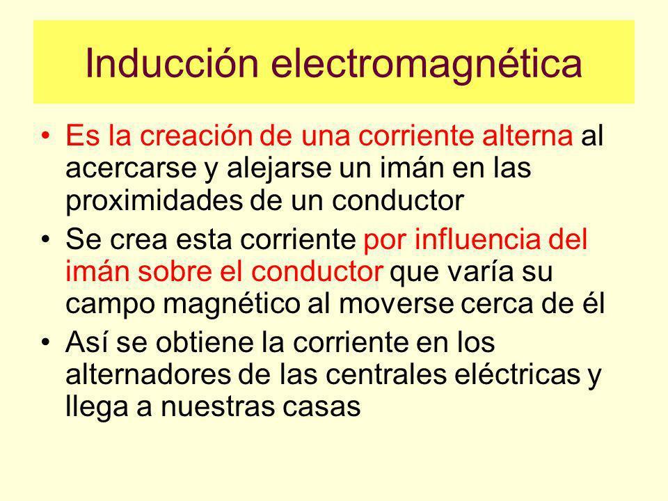 Inducción electromagnética Es la creación de una corriente alterna al acercarse y alejarse un imán en las proximidades de un conductor Se crea esta corriente por influencia del imán sobre el conductor que varía su campo magnético al moverse cerca de él Así se obtiene la corriente en los alternadores de las centrales eléctricas y llega a nuestras casas