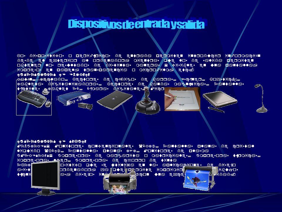 Los dispositivos o periféricos de entrada permiten introducir información desde el exterior al ordenador, mientras que los de salida permiten obtener