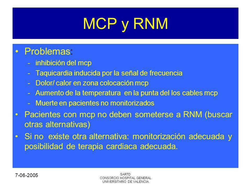 7-06-2005 SARTD CONSORCIO HOSPITAL GENERAL UNIVERSITARIO DE VALENCIA MCP y RNM Problemas: -inhibición del mcp -Taquicardia inducida por la señal de frecuencia -Dolor/ calor en zona colocación mcp -Aumento de la temperatura en la punta del los cables mcp -Muerte en pacientes no monitorizados Pacientes con mcp no deben someterse a RNM (buscar otras alternativas) Si no existe otra alternativa: monitorización adecuada y posibilidad de terapia cardiaca adecuada.