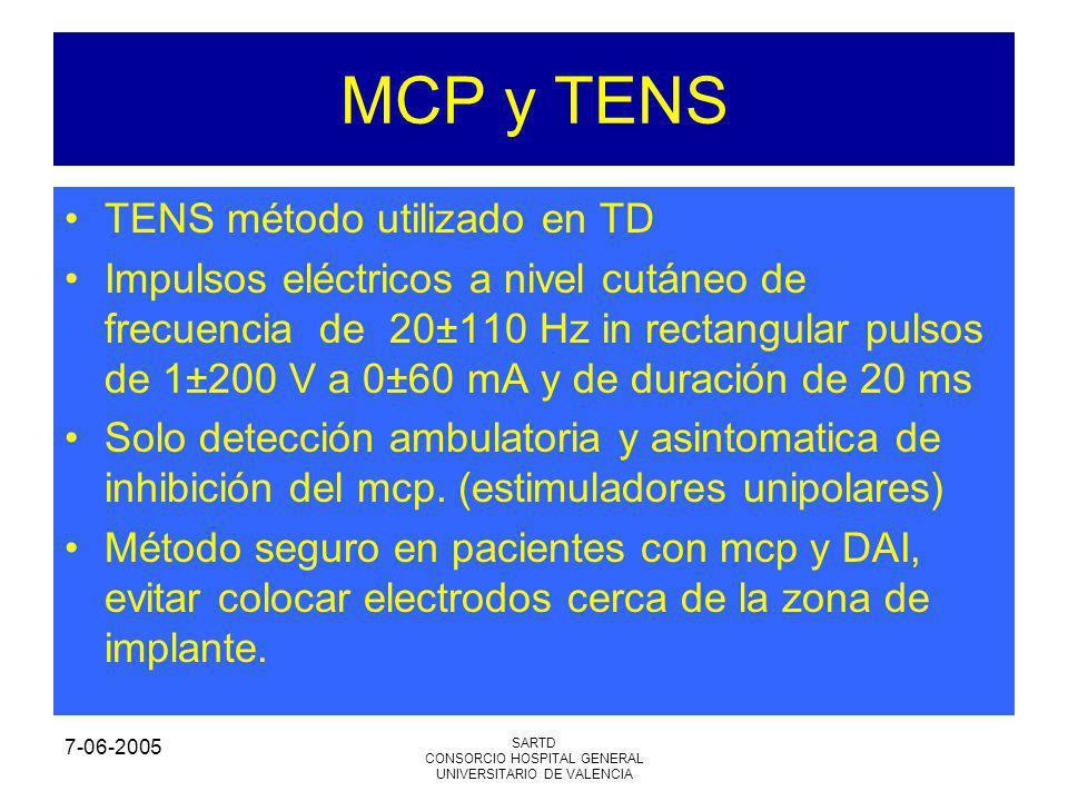 7-06-2005 SARTD CONSORCIO HOSPITAL GENERAL UNIVERSITARIO DE VALENCIA MCP y TENS TENS método utilizado en TD Impulsos eléctricos a nivel cutáneo de fre