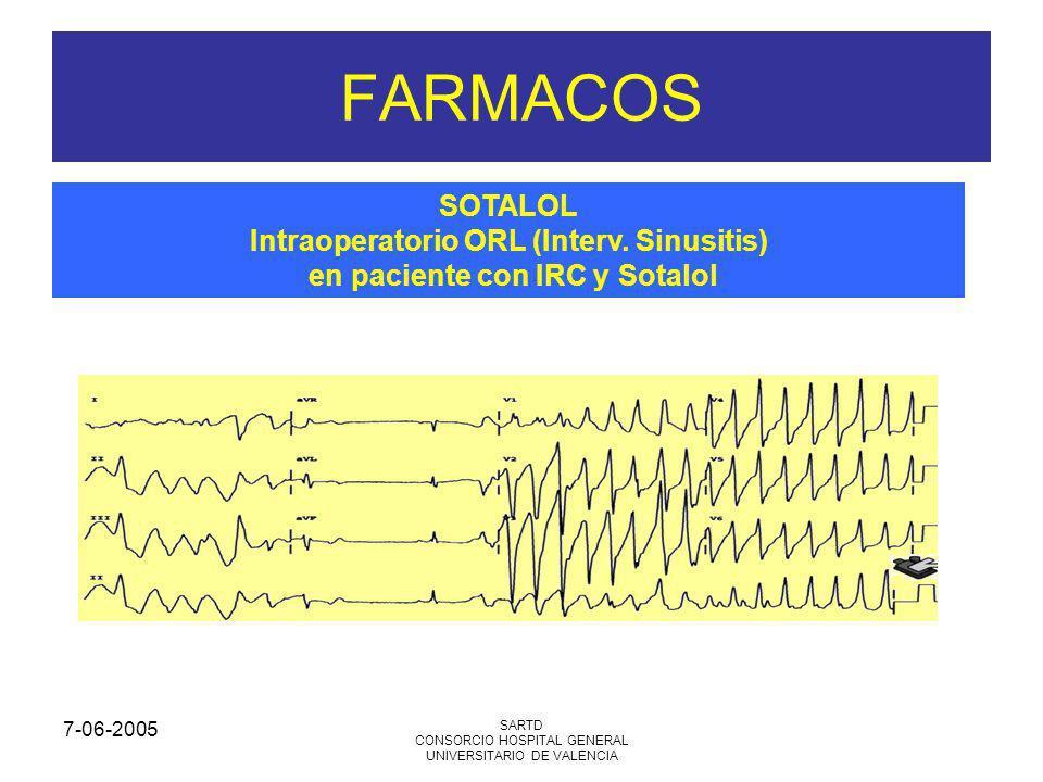 7-06-2005 SARTD CONSORCIO HOSPITAL GENERAL UNIVERSITARIO DE VALENCIA FARMACOS SOTALOL Intraoperatorio ORL (Interv. Sinusitis) en paciente con IRC y So